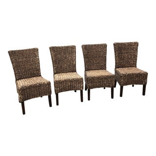 1970s Vintage Seagrass Braided Dining Chairs- Set of 4 For Sale