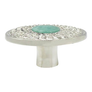 Addison Weeks Oliver Knob Large, Nickel & Amazonite For Sale