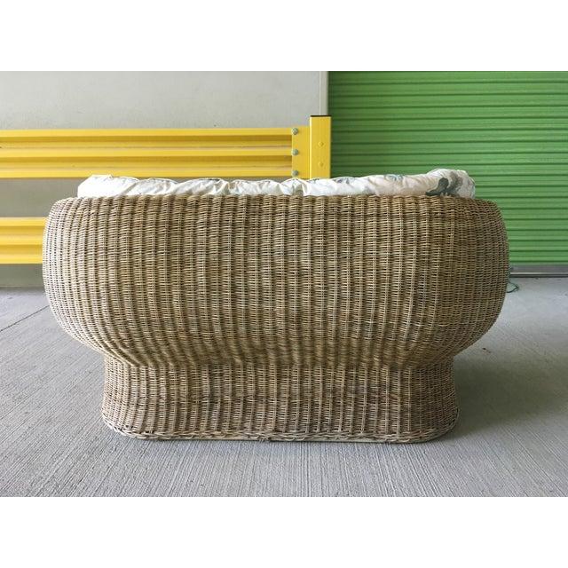 Vintage Wicker Barrel Back Settee For Sale - Image 9 of 12
