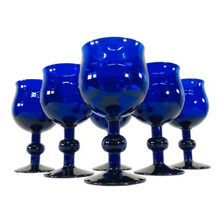 Art Deco Style Cobalt Glass Wine Stems, Set of 6 For Sale