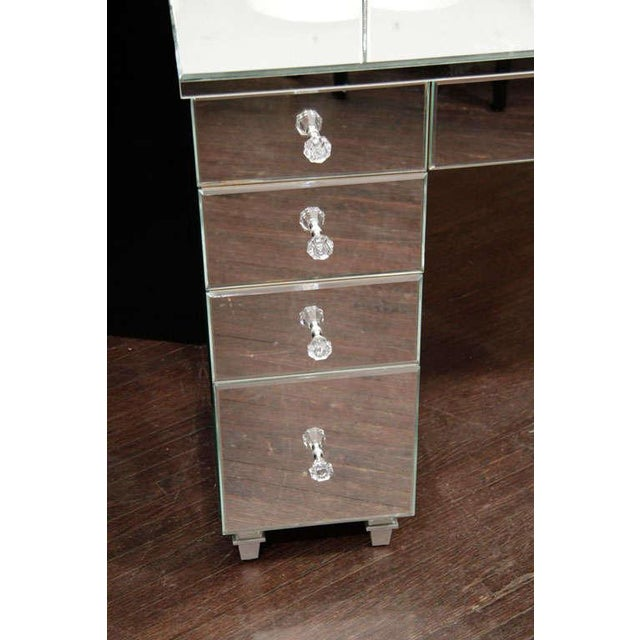 Art Deco style mirrored dressing table with tryptic mirror.