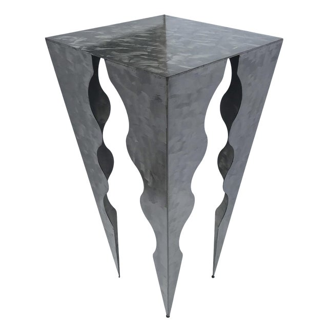 20th Century Abstract Wave Design Tall Metal Side Table For Sale