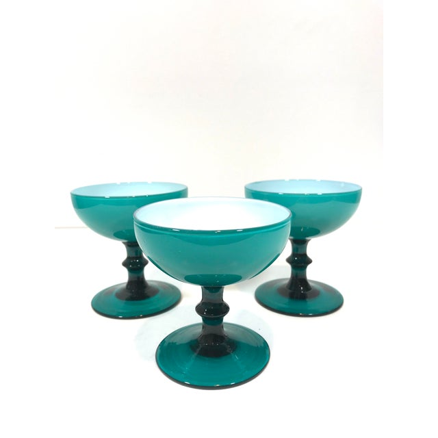 Blue Mid 20th Century Blue Opaline Champagne Coupe Glasses - Set of 3 For Sale - Image 8 of 8