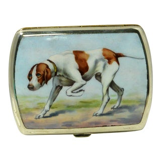 Vintage 1920s German Silverplate and Enamel Sporting Dog Cigarette Case For Sale
