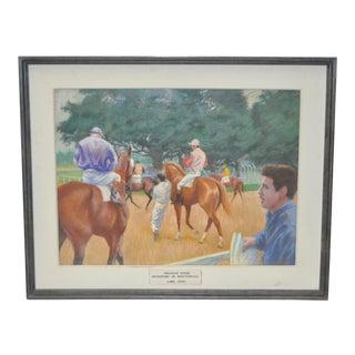 "Thad Leland (1914-1987) Original Pastel ""Paddock Scene"" C.1960s"