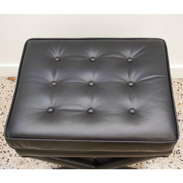 Modern Black Leather X Stools / Ottomans - a Pair For Sale - Image 4 of 6