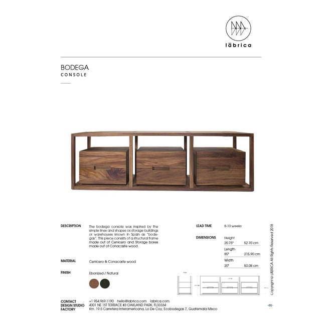 Wood Bodega Console, Cenicero and Conacaste Solid Wood For Sale - Image 7 of 8