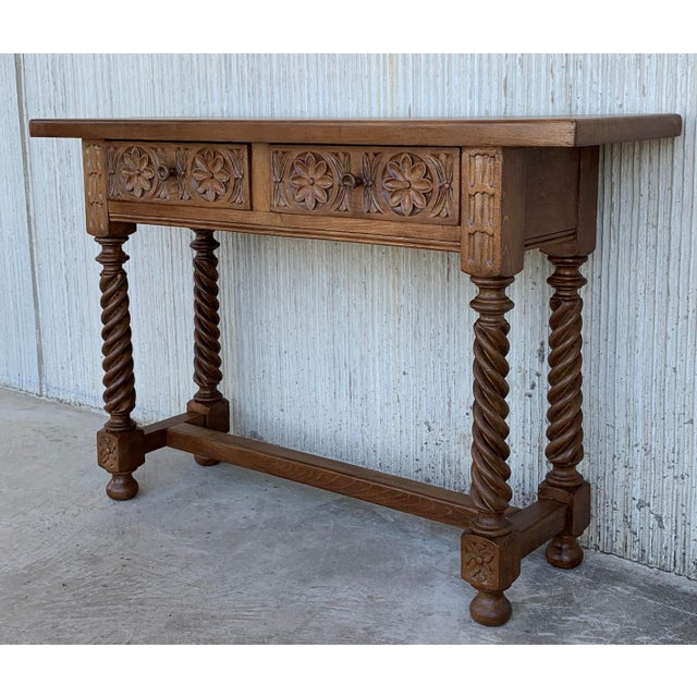 Mid 19th Century Spanish Baroque Carved Walnut Console Table With Two Drawers, Circa 1860 For Sale - Image 5 of 13