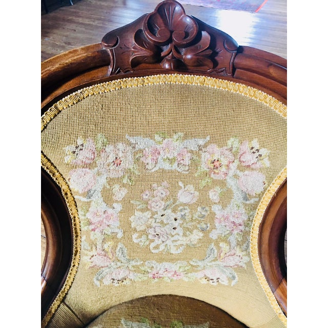 Mid 19th Century 1860s Renaissance Revival Needlepoint Slipper Chair For Sale - Image 5 of 6