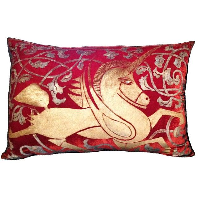 Mediterranean Unicorn Silk Velvet Pillow Cover For Sale - Image 3 of 3