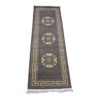 Tibetan Handwoven Traditional Gray Rug - 2′ × 5′5″