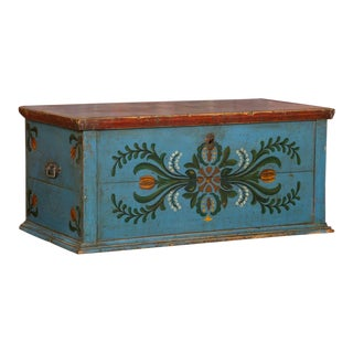 19th Century Hungarian Folk Art Painted Trunk For Sale