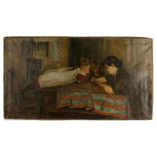 """19th Century """"Family Time"""" Figurative Oil Painting For Sale - Image 11 of 11"""
