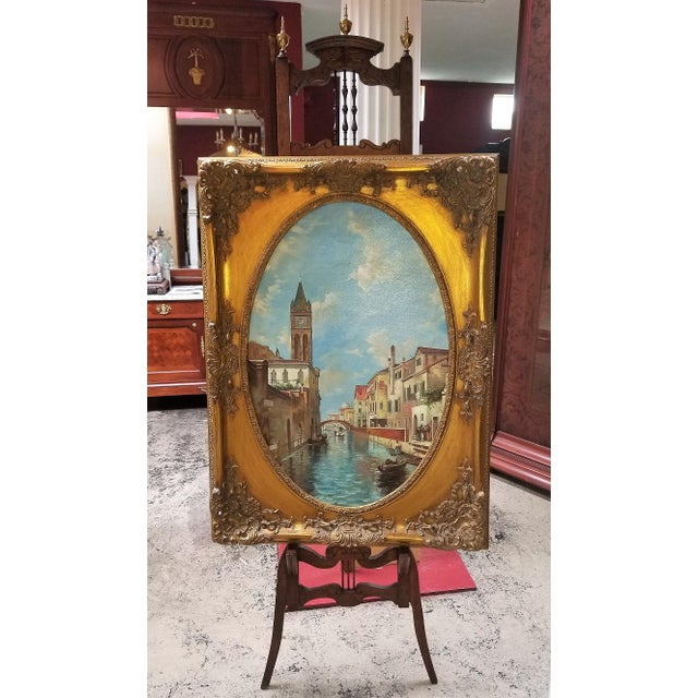 Oil on Canvas of Venetian Scene in Ornate Giltwood Frame For Sale - Image 10 of 12