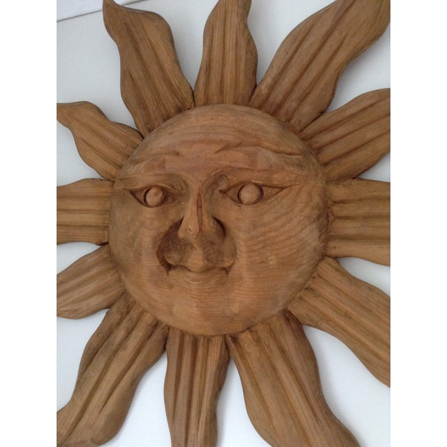 Large Handcarved Wood Sun Wall Art - Image 3 of 3