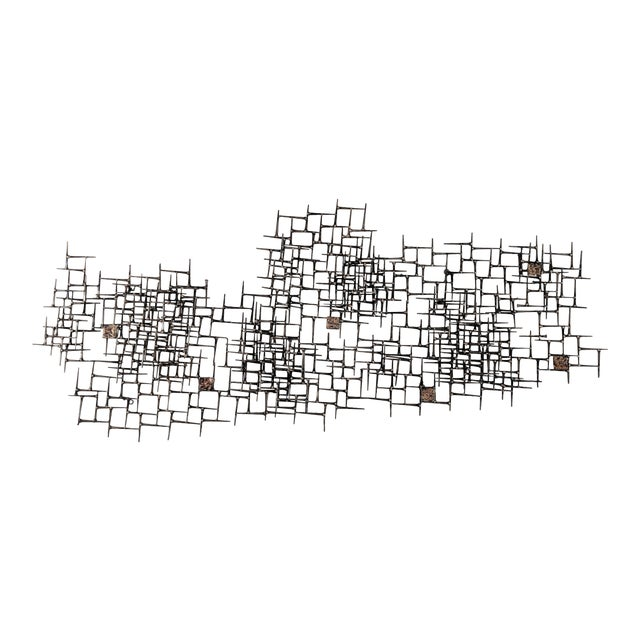 Abstract Nail & Bronze Wall Jere Style Sculpture For Sale