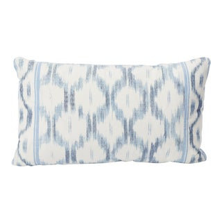 Schumacher Santa Monica Ikat Double-Sided Lumbar Pillow in Indigo For Sale