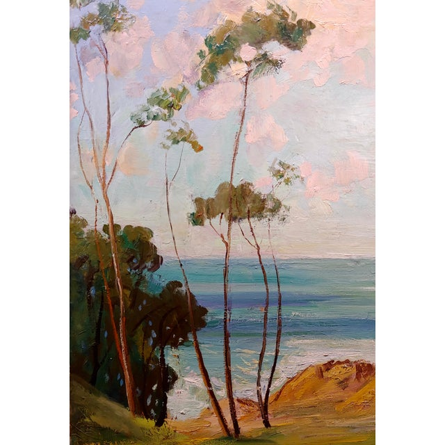 "1940s James Arthur Merriam ""California Coastline"" Oil Painting For Sale - Image 5 of 8"