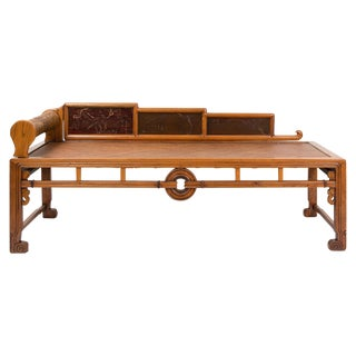 1880s Chinese Opium Elm Bed For Sale
