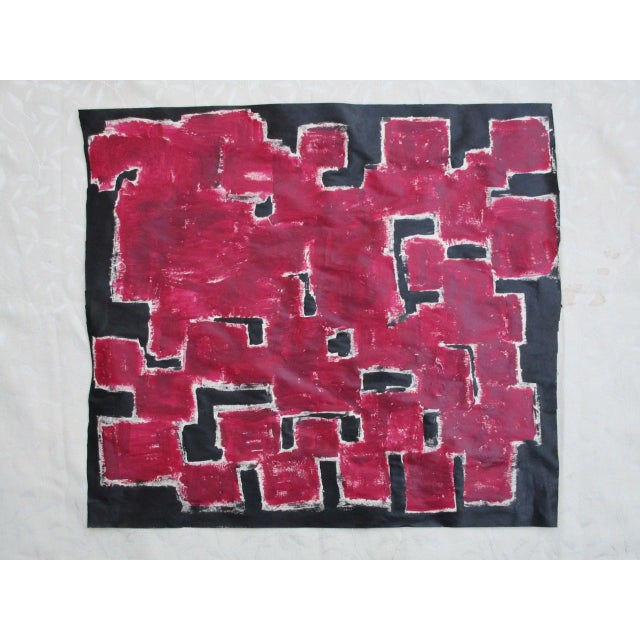 Alaina Bold Abstract Red Black Painting - Image 4 of 11