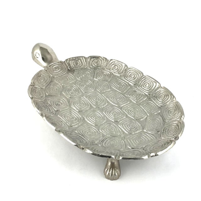 1980s Giant Sea Turtle Carved Aluminum Catchall Tray For Sale - Image 4 of 13