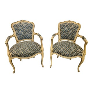 Antique Upholstered French Fauteuil Armchairs - a Pair For Sale