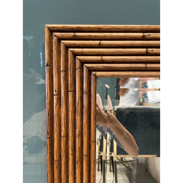 1970s Vintage Walnut Bamboo Mirror For Sale - Image 5 of 6
