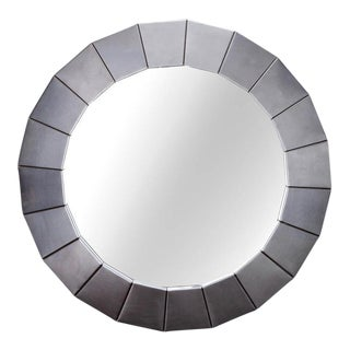 Mid-Century Brushed Silver Metallic Modernistic Round Mirror For Sale