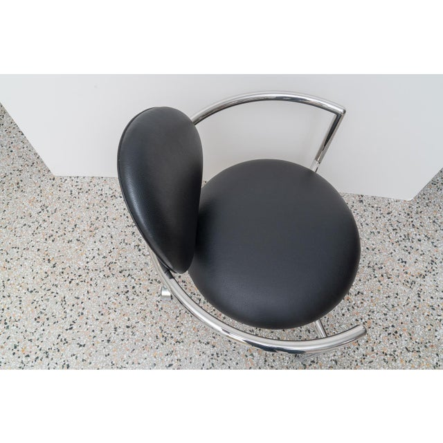 Black 1980s Moon Chair in Black Leather and Chrome by Brueton For Sale - Image 8 of 12
