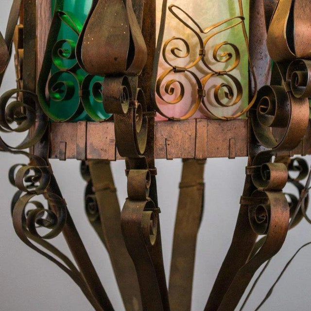 Metal Mid Century Spanish Revival Copper Lantern with Green & Rose Colored Glass For Sale - Image 7 of 10