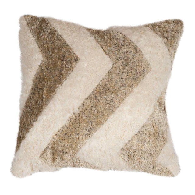 Custom Designed Chevron Pillow in Champagne and White Mongolian Lambswool For Sale