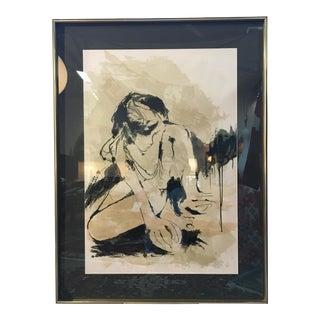 20th Century Portrait of a Woman Signed Lithograph Print For Sale