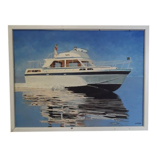 Vintage Mid-Century Uniflite Yacht Oil on Board Nautical Painting For Sale