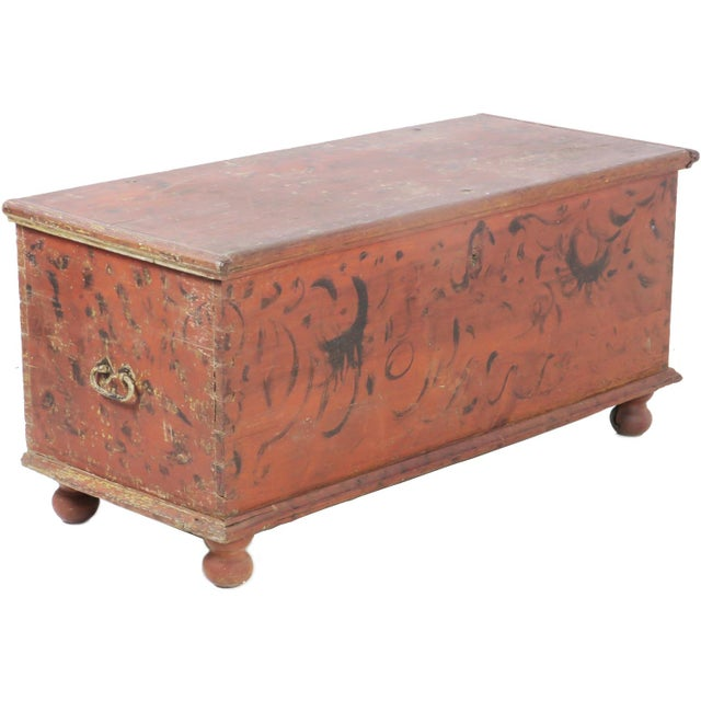 Early 19th Century Antique Primitive Red Paint Trunk For Sale In Charlotte - Image 6 of 13