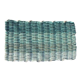 "Recycled Lobster Rope Doormat - ""Hey Ombre Aqua"""