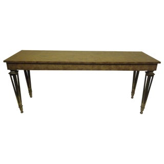 Vintage Neoclassical Burlwood & Brass Console For Sale
