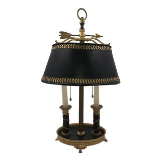 French Patinated and Bronze Dore Bouilotte Lamp With Black Tole Shade For Sale