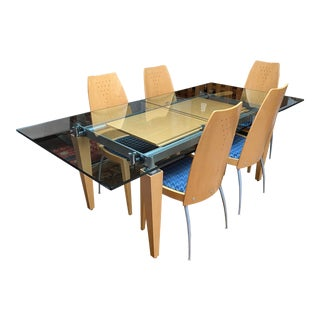 Fillamento Glass Extension Dining Set For Sale