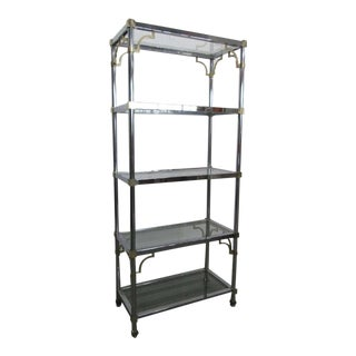 Maison Jansen style Brass & Chrome Etagere For Sale