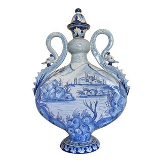 Intrada Italian Blue and White Majolica Urn With Double Handles For Sale