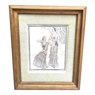 1930s Framed Fashion Print For Sale