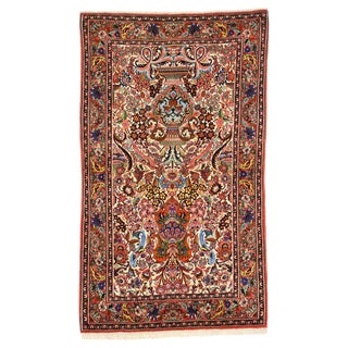 20th Century Persian Bijar Kashan Floral Vase Design Rug - 3′3″ × 5′4″ For Sale