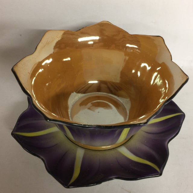 This is a beautiful opalescent purple, yellow, and copper floral design bowl and plate set made in Japan, marked and hand...