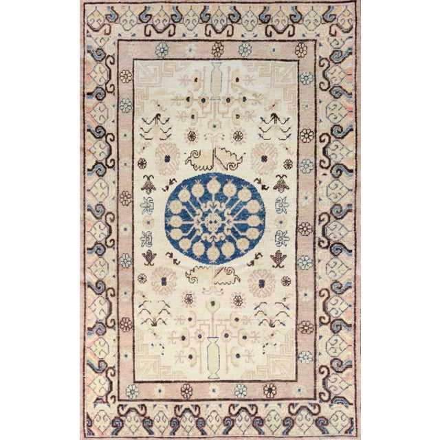 Mid 19th Century Mid 19th Century Handwoven Khotan Wool Rug For Sale - Image 5 of 5