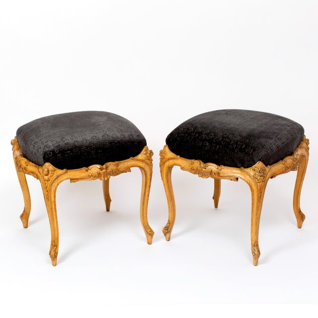 Italian Venetian Style Wood Foot Stools Covered in Hunt Slonem Fabric- a Pair For Sale - Image 3 of 3