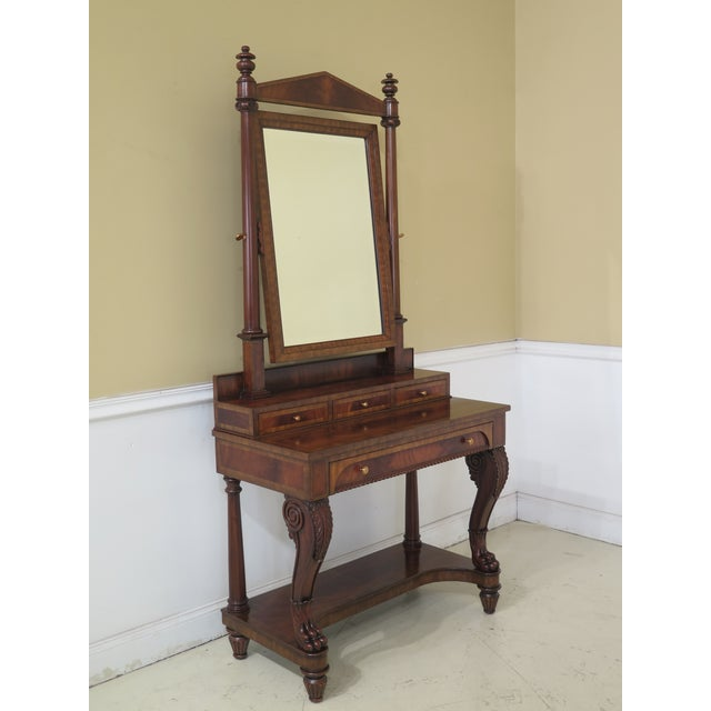 Up for sale is a Maitland Smith Figural Mahogany Empire Dressing Vanity. It has Beveled Glass Mirror and made with Quality...