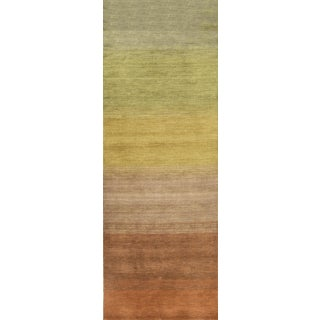 Contemporary Hand Woven Brown and Light Green Wool Rug 2'7 X 9'2