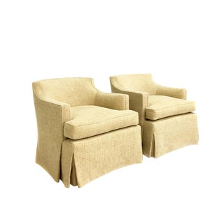 Pair of Designer Upholstered Swivel Club Chairs