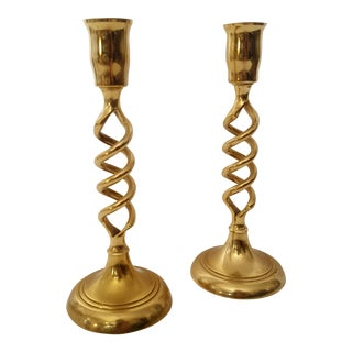Hollywood Regency Brass Barley Twist Candle Holders - A Pair