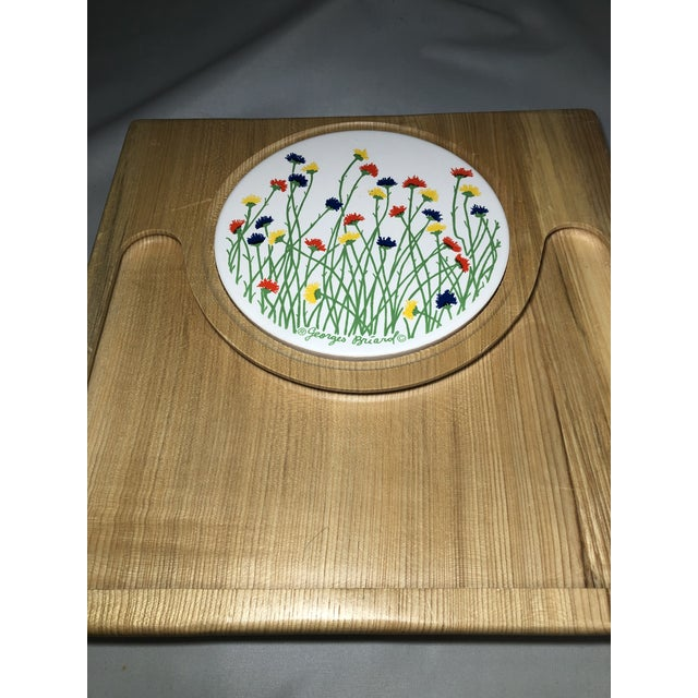 Georges Briard mid-century modern mid century wood tray with red, yellow and blue floral tile.